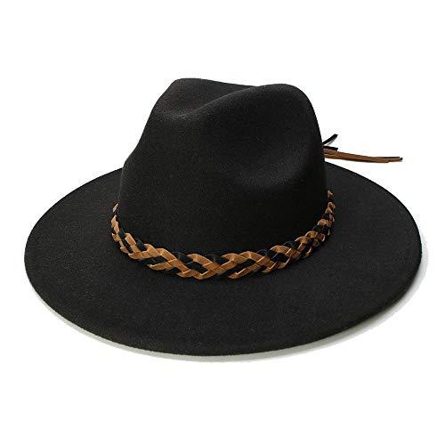 Fashion Wool Ladies Men's Felt hat Gentleman Wide-Brimmed hat Elegant Church Derby Klosh Sun Hat Creative (Color : Black, Size : 56-58cm)