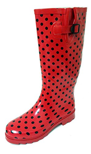 (G4U Women's Rain Boots Multiple Styles Color Mid Calf Wellies Buckle Fashion Rubber Knee High Snow Shoes (6 B(M) US, Red Polka Dots))