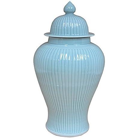 Sarreid 40200 Ceramic Bamboo Temple Jar Green
