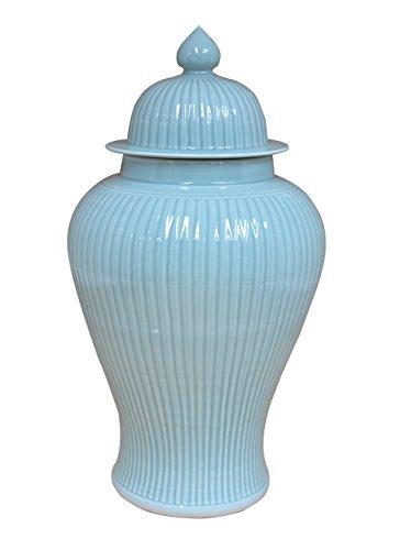 Sarreid 40200 Ceramic Bamboo Temple Jar, Green by Sarreid