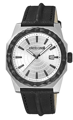 Roberto Cavalli by Franck Muller (PU5E5) Men's 'PYRAMID BEZEL' Quartz Stainless Steel and Leather Casual Watch, Color:Black (Model: RV1G018L0046)
