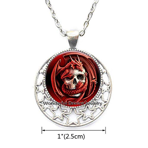(Waozshangu Dragon&Skull Pendant Charm Glass Cabochon Ancient Necklace Gothic Jewelry Mens Dragon Lobster Clasp,PU183 (Silver))