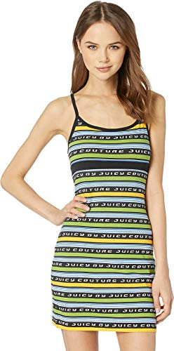 - Juicy Couture Women's Juicy Racer Stripe Logo Slip Dress Pitch Black Juicy Ra Large