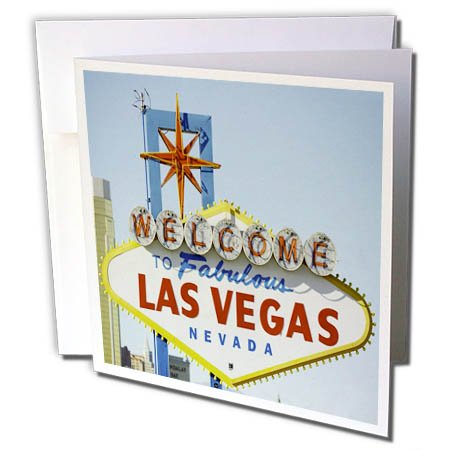 3dRose TDSwhite – Miscellaneous Photography - Travel Vegas Sign Daytime - 6 Greeting Cards with Envelopes (gc_285367_1)