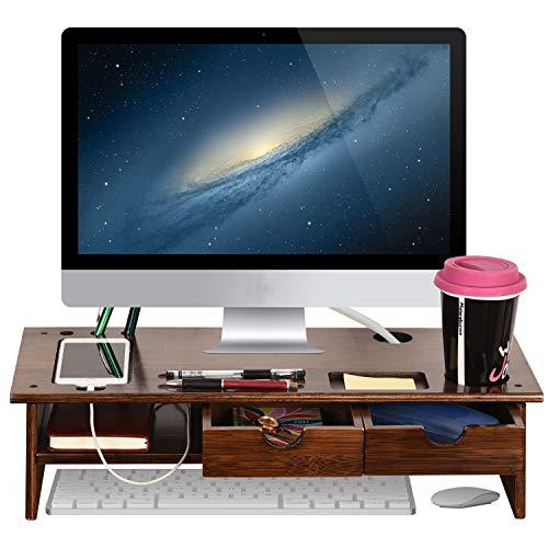 Sundale Bamboo Wood Monitor Stand Ergonomic Computer Riser with Storage Organizer 2 Drawers Desktop Laptop Shelf Risers for Home and Office Use, Classic Antique Brown ()