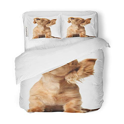 SanChic Duvet Cover Set Cute Puppy Shaking Its Head Listening to Music Decorative Bedding Set with 2 Pillow Cases King Size