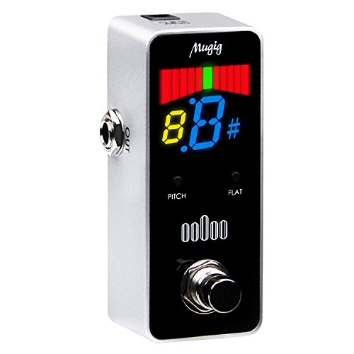 Mugig Chromatic Tuner Pedal Chromatic for Guitar and Bass ,High Definition Color Screen Pitch Flat Options, Apply to any 6.35mm Input Interface