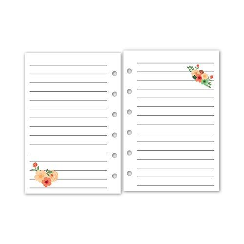 fits six-ring binders 15 Double-Sided sheets Pocket size Lined Planner insert