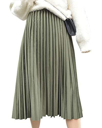 Yonglan Jupe Midi Femme Taille lastique Taille Haute Coupe Slim Jupe Fashion Jupe Plisse Vert Arme