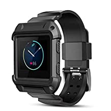 Fitbit Blaze Accessory,Perfect_Match [Integrated] [Silicone Band and Case] Protective Case with Strap Band for Fitbit Blaze Smart Fitness Watch (Black)