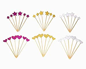 Honbay 36pcs Little Glitter Star and Heart Cupcake Toppers, Food Picks Cupcake Party Picks