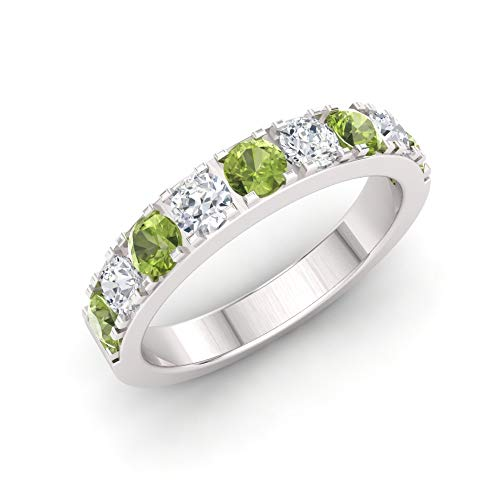 (Diamondere Natural and Certified Peridot and Diamond Wedding Ring in 10K White Gold | 0.92 Carat Half Eternity Stackable Band for Women, US Size 6.5)