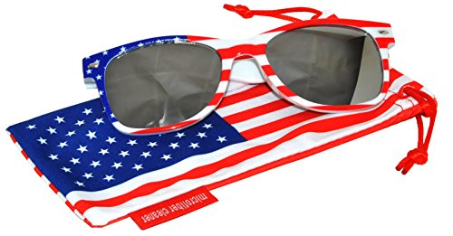 Classic American Patriot Flag Sunglasses USA Mirrored Lens White American Flag Frame - Online Glasses Usa