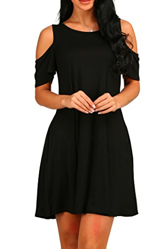 CUQY Women's Cold Shoulder Tunic Top T-shirt Casual Loose Dress With Pockets (L, Black)