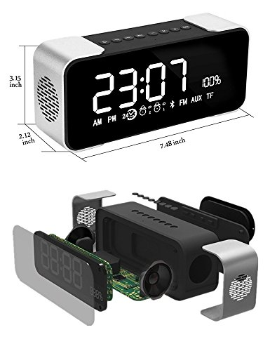 BOXAN Bedside Clock Bluetooth Speaker, Portable Wireless Bluetooth4.2 Stereo Hi-Fi Speaker, FM Radio/TF Card/AUX 8 Hour Play Super Bass for iPhone/iPad/iPod/Android Phone and Tablets - Grey