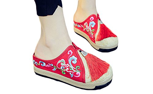 Avacostume Femmes Rétro Broderie Gland Plate-forme Wedge Pantoufles Rouge
