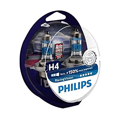 RacingVision H4 Headlight Bulbs (Twin) 12342RVS2 Halogen Bulbs Upgrade by Philips: Automotive