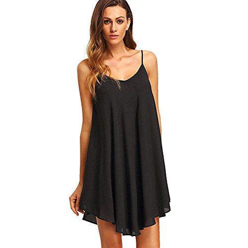 Women's Casual Plain Simple T-Shirt Loose Dress Black]()
