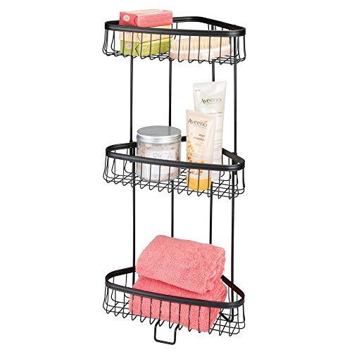 mDesign Decorative Metal 3-Tier Bathroom Corner Shelf Unit - Free Standing Vertical Storage Shelves - for Organizing Hand Towels, Body Lotion, Facial Tissues, Bath Salts - 3 Baskets - Matte Black