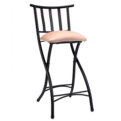 Set Of 4 Kitchen Counter Height Chairs With Microfiber: COSTWAY Set Of 4 Folding Bar Stools Counter Height Bistro
