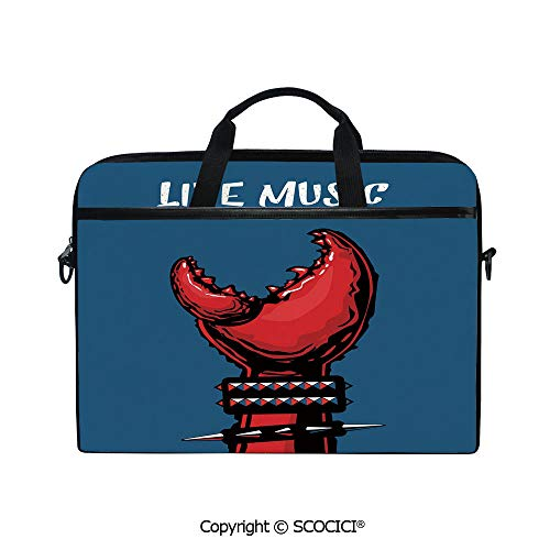 Printed Laptop Bags Notebook Bag Covers Cases Crab Claw with Spiky Wristbands Heavy Rock Live Music Performance Inscription Art Decorative with Adjustable Strip and Zipper Closure