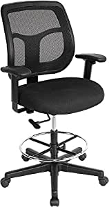 Eurotech Apollo Mesh Drafting Chair, 23.2-32.7 Inch Seat Height, Black (DFT9800)