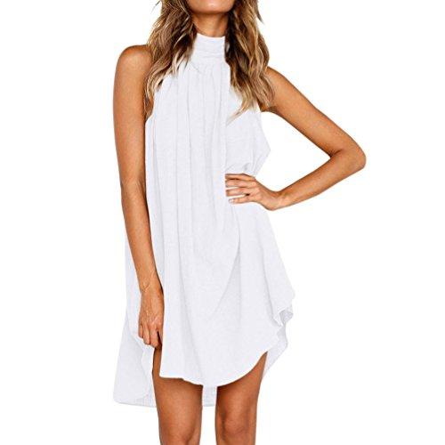 Clearance-Womens-Summer-Turtleneck-Sleeveless-Irregular-Beach-Party-Dress-M-White
