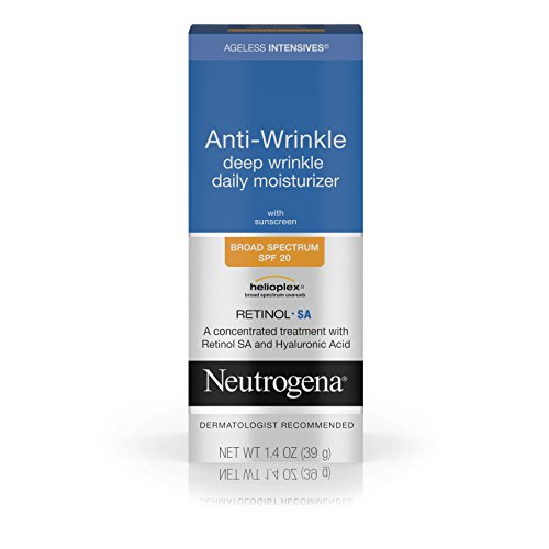 Anti Age Treatment Day Cream - Neutrogena Ageless Intensives Anti-Wrinkle Deep Wrinkle Daily Facial Moisturizer with SPF 20, Retinol and Hyaluronic Acid to Hydrate and Fight Signs of Aging, 1.4 oz