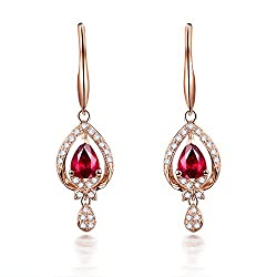 Rose Gold Emerald Sapphire Ruby Drop Earring
