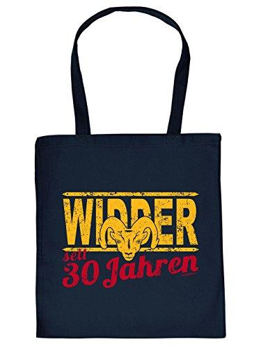Geschenkidee zum 30. Geburtstag: Sternzeichen Unisex Jutetasche/ Einkaufstasche/ Stoffbeutel/ Widder seit 30 Jahren