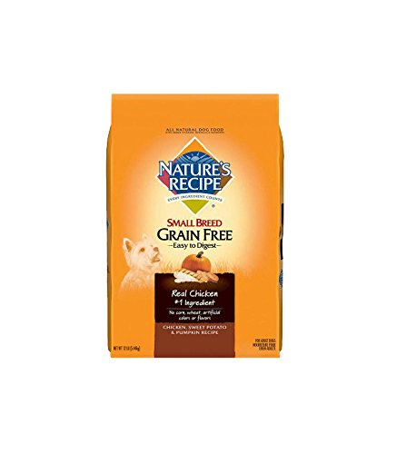 Nature's Recipe Small Breed Grain Free Easy to Digest Chicken, Sweet Potato & Pumpkin Recipe Dry Dog Food, 12 lb