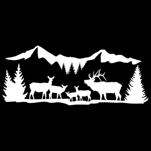 High Country Harem Elk Wall Decal (White - Reverse Facing - 5XL) - Big Game Collection (High Country Elk)