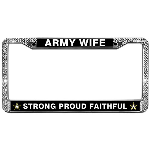 GND Bling License Plate Frames Proud Army Wife Glitter Bling Chrome Plate Frame US Army Diamond License Plate Frame Bling White Shiny Bling License Plate Cover Frame