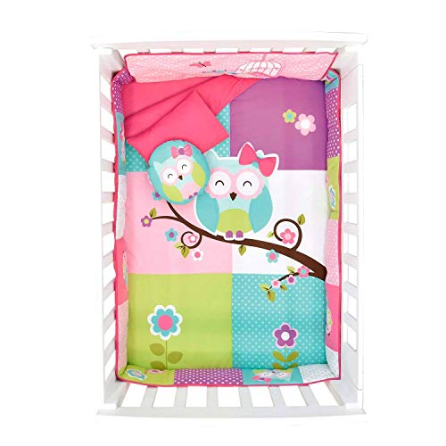 JORGE'S HOME FASHION NEW PRETTY COLLECTION DOROTY OWL BABY GIRLS NURSERY CRIB BEDDING SET 6 PCS