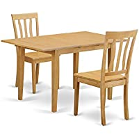 East West Furniture NOAN3-OAK-W 3 Piece Kitchen Dinette Table and 2 Chairs Set