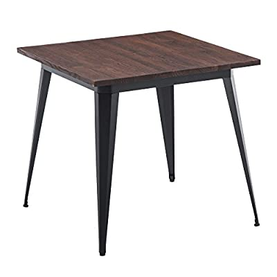"LSSBOUGHT Wood and Metal Square Dining Table, 31.5"" W×31.5"" L - Stylish elm wood with metal Leg detail Measures 31.5"" x 31.5"" x 29.5"" A clean, simple design that works well for any style home - kitchen-dining-room-furniture, kitchen-dining-room, kitchen-dining-room-tables - 419RLSBbYiL. SS400  -"