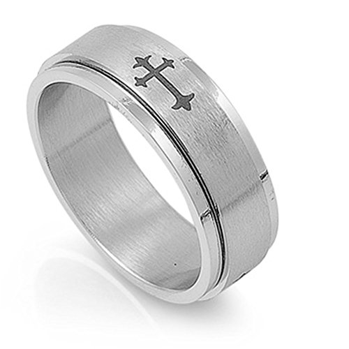 Men's Cross Spinner Ring Wholesale Stainless Steel Band New USA 8mm Size 13