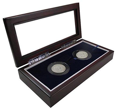 """Box 2 Extra Large or Air-Tite """"I"""" Capsules / 2"""" Challenge Coins Wood Display Case Glass Top"""