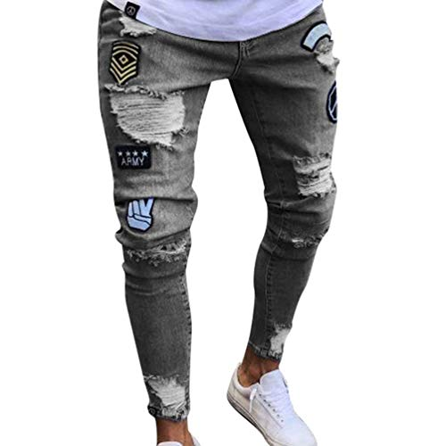 Da Mendicanti Jeans Casual Collage Lavati Uomo Giovane Estivi Grau Pantaloni Stampa Anaisy Distrutti qwWnz1dwE