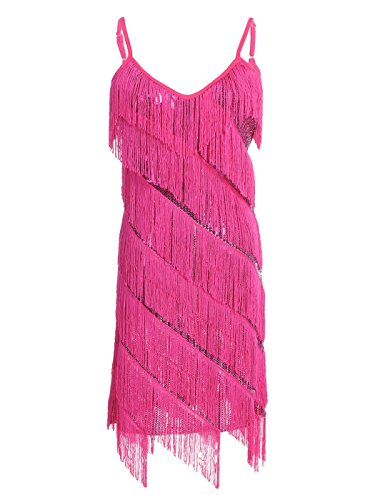 Anna-Kaci Womens Fringe Sequin Strap Backless 1920s Flapper Party Mini Dress, Pink, -