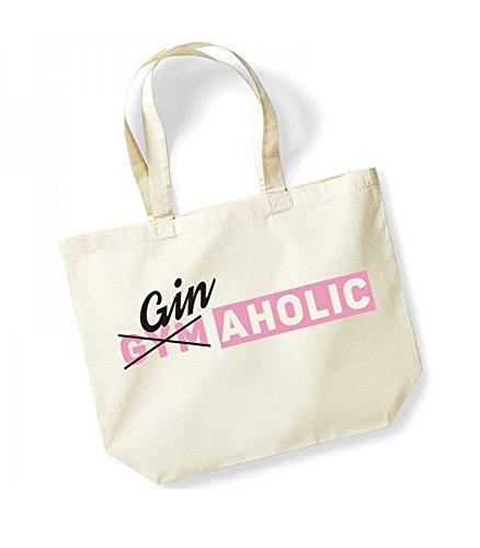 GinAholic - Large Canvas Fun Slogan Tote Bag Natural/Pink