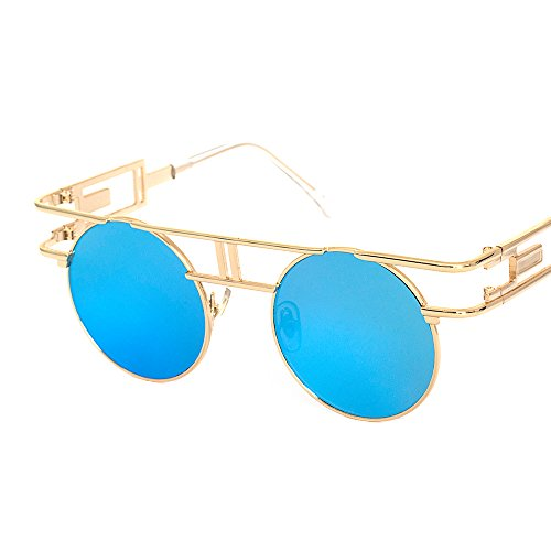 Vintage Unisex lens Round Glasses Steampunk Sunglasses Blue - 3