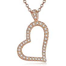 Blinkingstare Rose Gold Heart Pendant Necklace - Round Cut CZ Women Wedding Infinity Heart Necklace