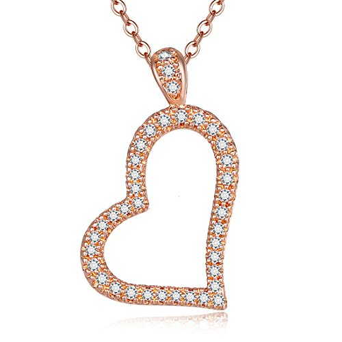 Heart Round Gold - Lateefah Rose Gold Heart Pendant Necklace - Round Cut Cubic Zirconia Fine Polish Women Wedding Infinity Heart Necklace (Rose Gold)