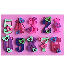 XUEXIN Heart Numbers 0-9 Shaped Fondant Cake Chocolate Silicone Mold Mould,Decoration Tools Bakeware