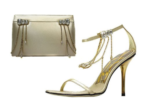 Gold Crystal Sandals and Matching Bags Set