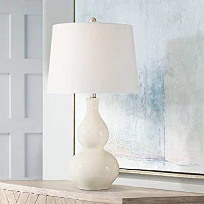 Fergie Modern Table Lamp White Cream Ceramic Double Gourd Drum Shade for Living Room Family Bedroom Bedside Nightstand - 360 Lighting