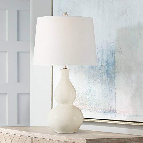 Fergie Modern Table Lamp White Cream Ceramic Double Gourd Drum Shade for Living Room Family Bedroom Bedside Nightstand - 360 Lighting (Porcelain Lamp Gourd)