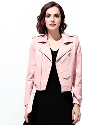 (Fitaylor Women's Faux Leather Motorcycle Jacket PU Slim Short Biker Coat (M,)