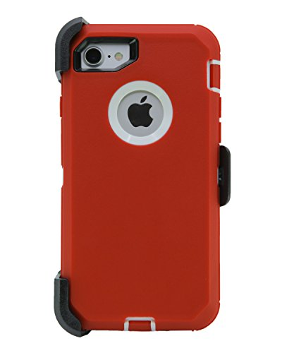 WallSkiN Turtle Series Cases for iPhone 7 / iPhone 8 (Only) Full Body Protection with Kickstand & Holster - Garnet (Red/White)